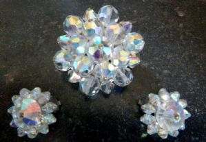 Vintage Aurora Borealis Glass Bead Brooch and Earrings